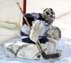 Netminder Peter Foster has gotten hot at the right time for the Falcons (photo: Air Force media relations).