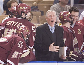 BC coach Jerry York shouts toward the ice during the East Regional Championship. He had the Eagles fired up for the sixth match of the season against BU. (photos: Melissa Wade)