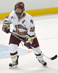 Chris Collins and BC lead the Hockey East standings -- at least for now (photo: Melissa Wade).