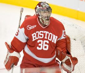 John Curry excelled once more in net for BU Monday night (photo: Melissa Wade).