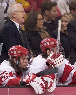 Boston University Coach Jack Parker was back at his alma mater almost immediately after he graduated. Photo by Melissa Wade.