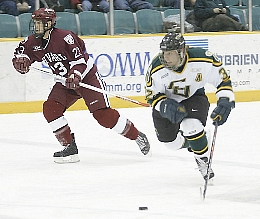 Nick Dodge (r.) leads balanced and dangerous Clarkson in scoring.