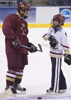 BC senior Chris Collins and Jacob Paluch during a little downtime at Friday's practice (photo: Melissa Wade).
