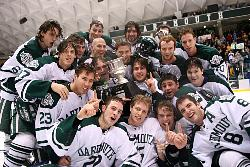 ...along with Dartmouth, as the Big Green pose with the trophy (photo: Dartmouth sports information).