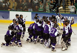 Holy Cross celebrates its ouster of Minnesota (photo: Jason Waldowski).
