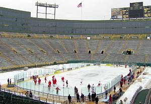 Wisconsin played outdoors just four years ago, skating at Green Bay's Lambeau Field against Ohio State (photo: Todd D. Milewski).
