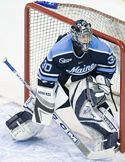 Will Ben Bishop be in net for Maine as the NCAA tournament starts? (photos: Melissa Wade)