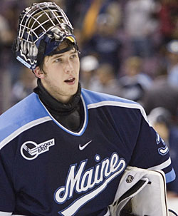 The status of netminder Ben Bishop is question number one on Maine fans' minds (photo: Melissa Wade).