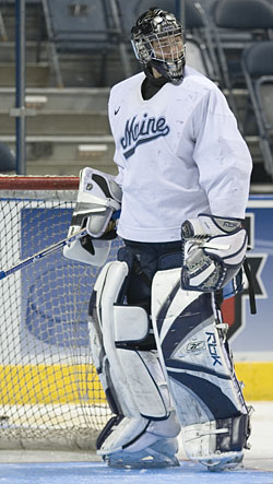 Ben Bishop will backstop Maine against Michigan State in Thursday's early semifinal (photo: Melissa Wade).