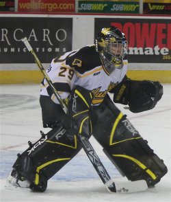 Michael-Lee Teslak earned all of MTU's victories in net a year ago (photo: Jayson Moy).