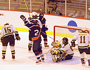 Hobart scores against St. Norbert in the 2006 NCAA semifinal. Both the Statesmen and Elmira came within a goal of the final game last season (photo: Angelo Lisuzzo.)