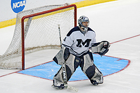 Middlebury goaltender Doug Raeder is the third different goalie -- and second rookie in a row -- to win a championship for the Panthers in the past three seasons. (photo: Angelo Lisuzzo)
