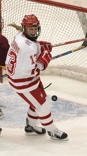 """Grace Hutchins reacts to scoring Wisconsin's second goal, which rode the momentum of Jinelle Zaugg's power play goal 30 seconds earlier. (Photo: John E. Van Barriger / <a href='http://words-photos.com'>words-photos.com</a>)"""" /></p> <div class="""