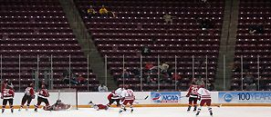 The Friday afternoon semifinal between Wisconsin and St. Lawrence was sparsely attended. (Photo: Ryan Coleman)