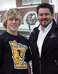 T.J. (in a Warroad Warriors shirt) and father Tim Oshie (photo: Patrick C. Miller).
