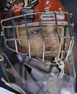 Dave Caruso of Ohio State at practice Friday for the Frozen Four Skills Challenge (photo: Melissa Wade).