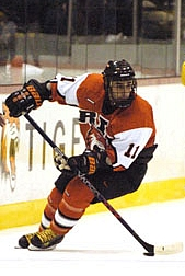 RIT junior Rob Tarantino skates against Canisius Oct. 22.  The Tigers made the move to Division I this season (photo: RIT sports information).