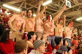 Fans enjoy the 2005 edition of the Big Red Freakout! (photo: RPI sports information)