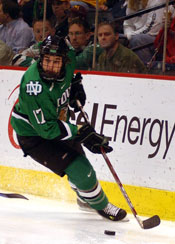Rylan Kaip scored his first goals in 60 games Friday -- just in time for UND's WCHA title hopes (photo: Jason Waldowski).