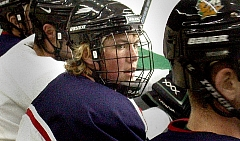 T.J. Oshie waits for a shift at a UND captain's practice (photos: Patrick C. Miller).