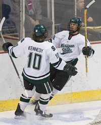 Tim Crowder and Tim Kennedy celebrate Crowder's goal against New Hampshire during last season's NCAA regionals (photo: Melissa Wade).