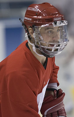 Wisconsin captain Adam Burish is part of a senior class looking to take Wisconsin back to college hockey's summit (photo: Melissa Wade).