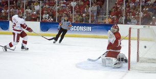 Jack Skille's triple-overtime goal put Wisconsin in the Frozen Four (photo: Ryan Coleman).