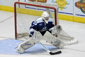 Air Force netminder Andrew Volkening permitted Quinnipiac just two goals last weekend (photo: Angelo Lisuzzo).