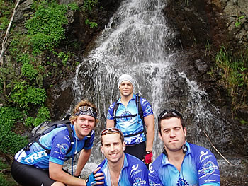 The riders stop for an early picture in Washington State at Snolqualmie Falls -- a 3200 foot climb.