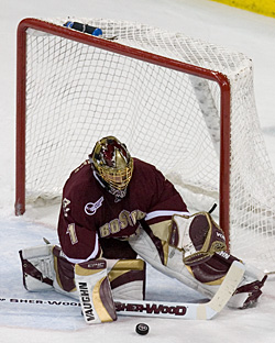 Cory Schneider backstopped Boston College in two consecutive championship losses, but will forgo another try (photo: Melissa Wade.)