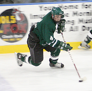 Defenseman Joe Huchko leads Castleton into its first ever semifinal against New England College on Saturday.
