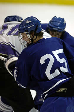 Freshman Ryan Howarth looks to add to his scoring totals while posting an upset at Colby.