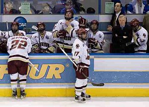 The Boston College bench dejected after the game-winning goal. (photo: Melissa Wade)