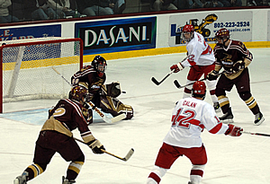 Goalie David Thompson looks to backstop an ECAC East championship for the Cadets.
