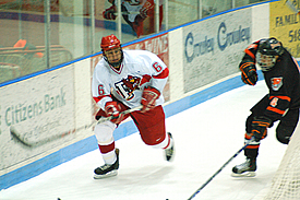 Plattsburgh sophomore defenseman Nick Rolls tallied a goal and two assists against Brockport. (photo: Bill Roberts)