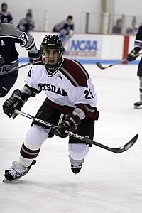Potsdam senior defenseman Vince Tarantino got the first and last goals in a 6-6 tie with Brockport. (photo: Boyd Jones)