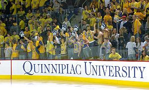A crowd shot from Quinnipiac's new rink in the TD Banknorth Sports Center.