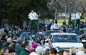 The Spartans and their fans fill the roads of East Lansing (photos: Robert Hendricks).