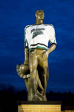 The statue of Sparty on the MSU campus gets a little bit of adornment.