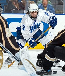 UAH's Brett McConnachie is a threat on the ice -- and on the mic (photo: UAH media relations).