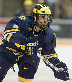 Andrew Cogliano and the Wolverines don't get to see much of Ohio State under the CCHA's current scheduling system (photo: Melissa Wade).