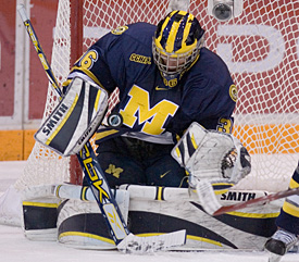 Michigan has gotten a strong performance from netminder Billy Sauer in the second half of the season.
