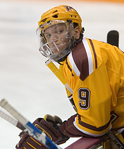 Freshmen like Kyle Okposo helped Minnesota overcome the loss of several underclassmen after last season (photos: Melissa Wade).