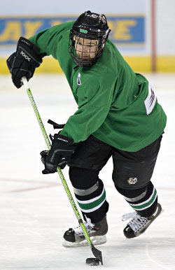 WCHA Player of the Year Ryan Duncan at practice Wednesday in St. Louis (photo: Melissa Wade).