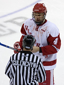 Davis Drewiske (seen here after a scrum in last season's WCHA Final Five) will captain the 2007-08 edition of the Badgers (photo: Melissa Wade).