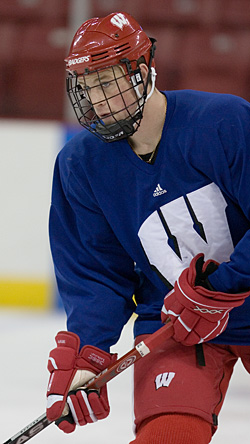 On Oct. 28, Jack Skille takes part in his first practice with a stick since injuring his elbow against North Dakota on Oct. 13 (USCHO file photo: Melissa Wade.)