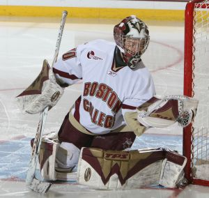 Molly Schaus hasn't suffered from a lack of work in net at Boston College.
