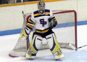 Sophomore goalie Marcus Paulson has a 3.00 GAA, a .917 save percentage and a 3-0-0 record for Stevens Point. (photo: Matthew Webb)