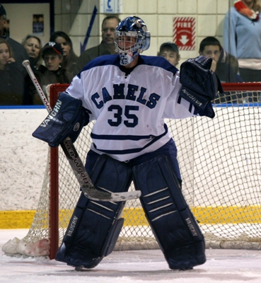 Sophomore goalie Greg Parker has the Camels in every game (Photo by Paul Brandon).
