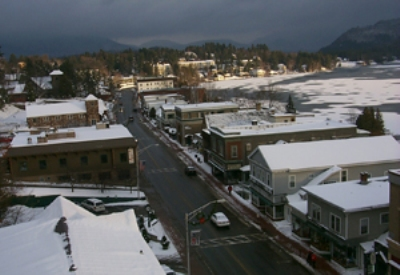 The Village of Lake Placid with Mirror Lake on the right (photo: Russell Jaslow.)